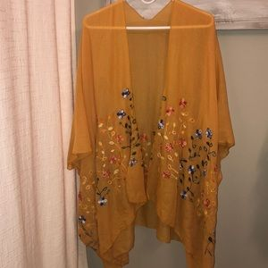 Vintage mustard embroidered Kimono